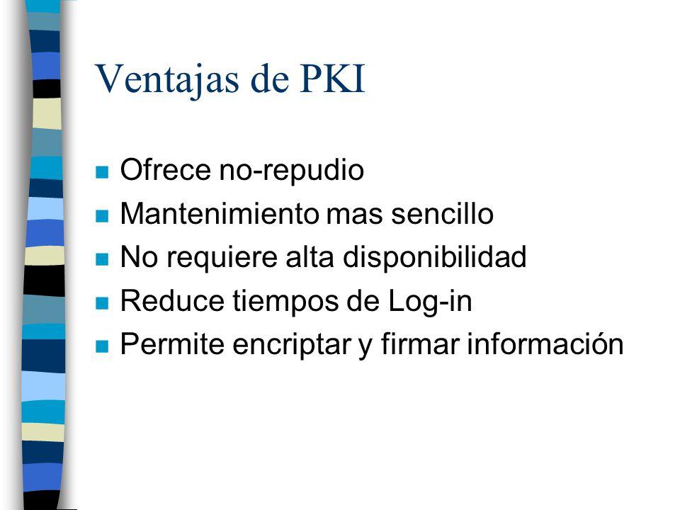 Ventajas de PKI Ofrece no-repudio Mantenimiento mas sencillo