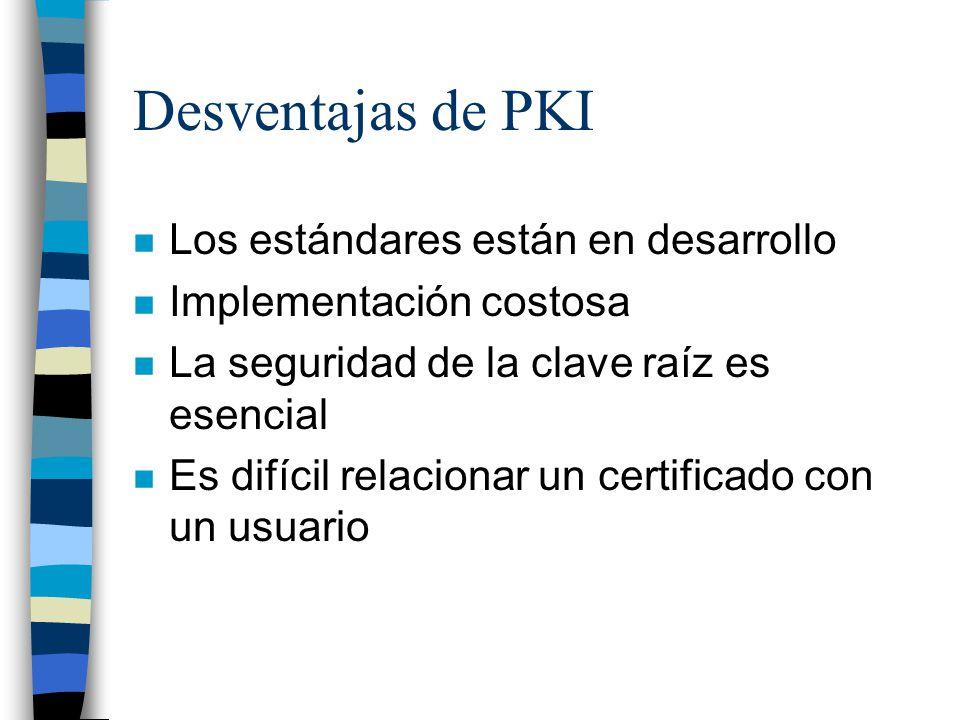 Desventajas de PKI Los estándares están en desarrollo