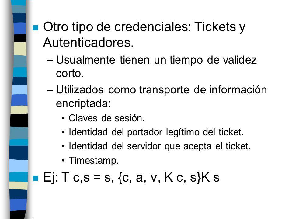 Otro tipo de credenciales: Tickets y Autenticadores.
