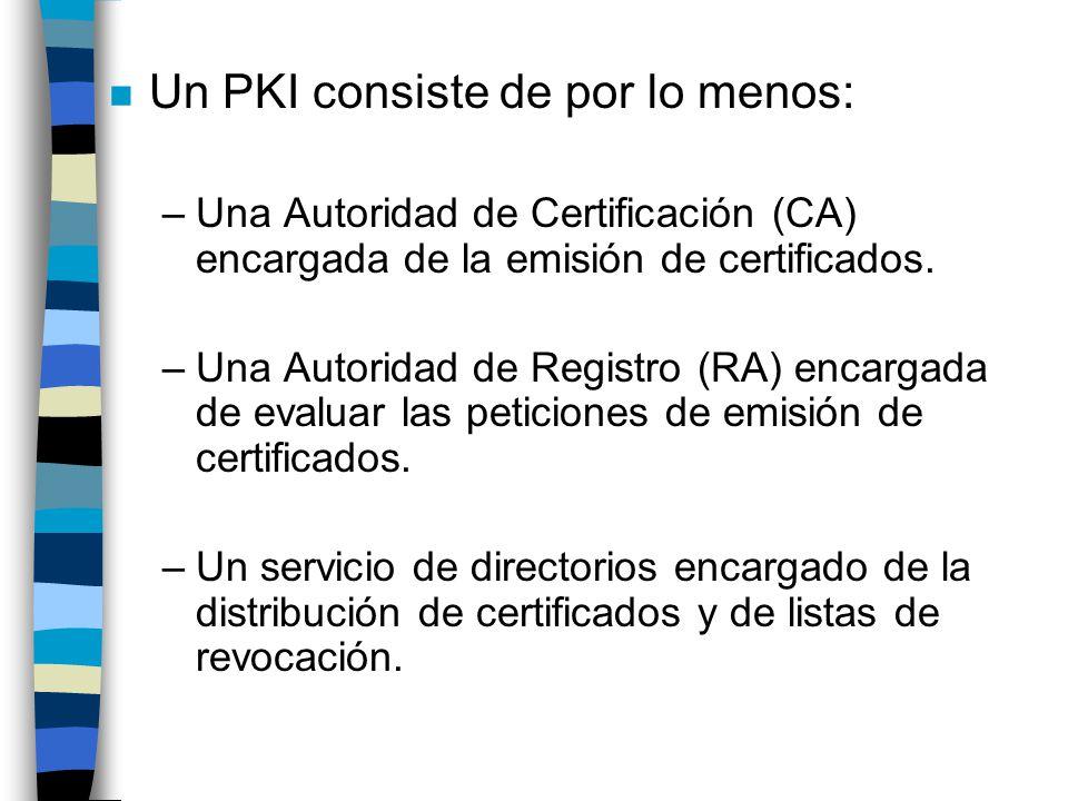 Un PKI consiste de por lo menos: