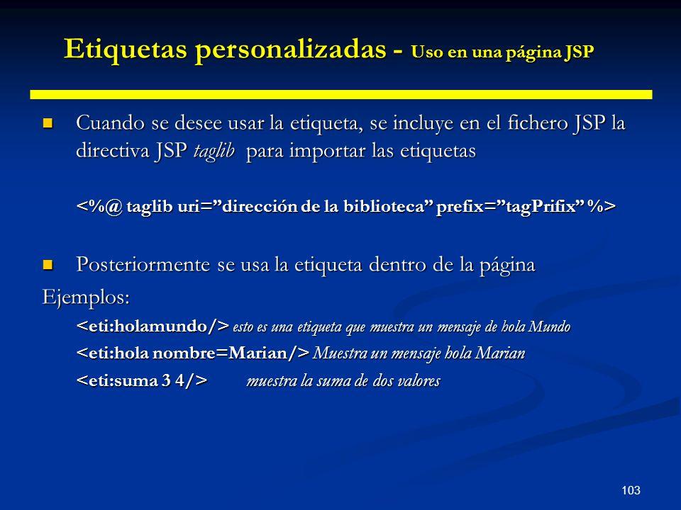 Etiquetas personalizadas - Uso en una página JSP