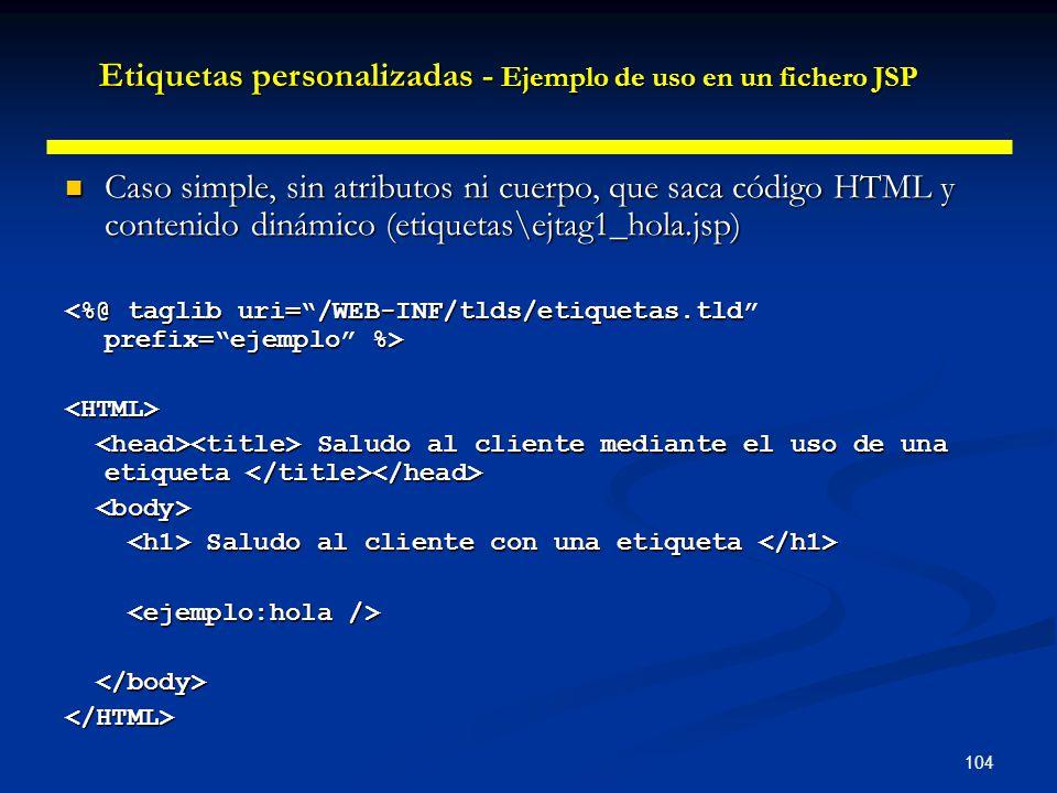 Etiquetas personalizadas - Ejemplo de uso en un fichero JSP