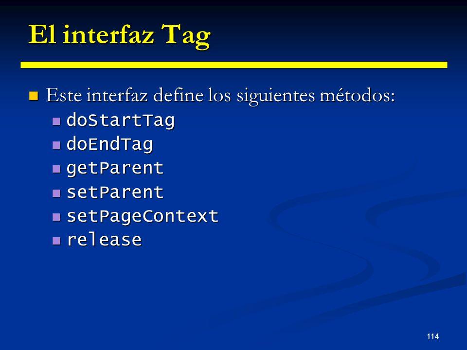 El interfaz Tag Este interfaz define los siguientes métodos: