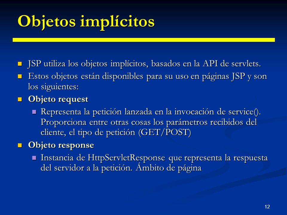 Objetos implícitos JSP utiliza los objetos implícitos, basados en la API de servlets.