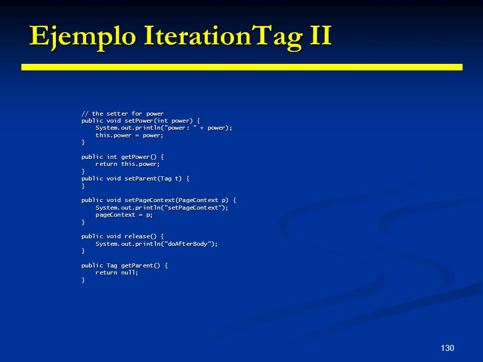 Ejemplo IterationTag II