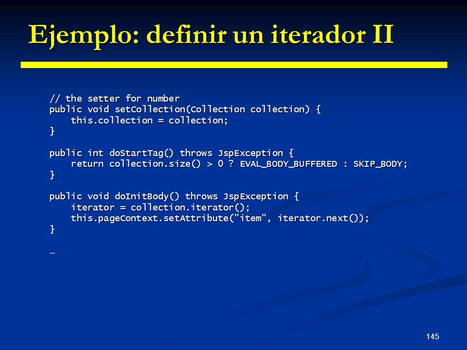 Ejemplo: definir un iterador II