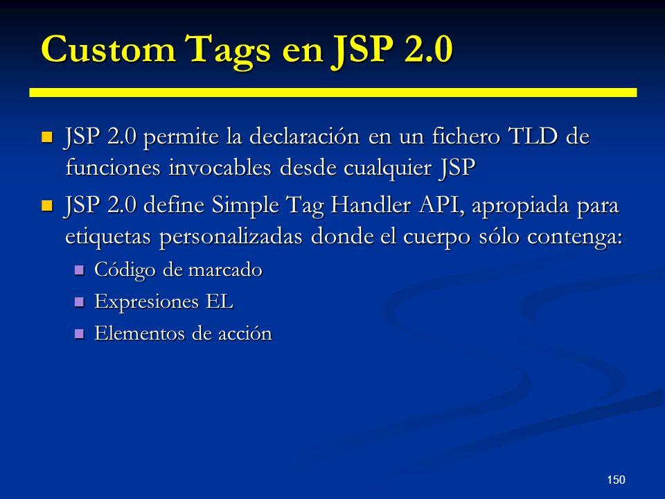 Custom Tags en JSP 2.0 JSP 2.0 permite la declaración en un fichero TLD de funciones invocables desde cualquier JSP.