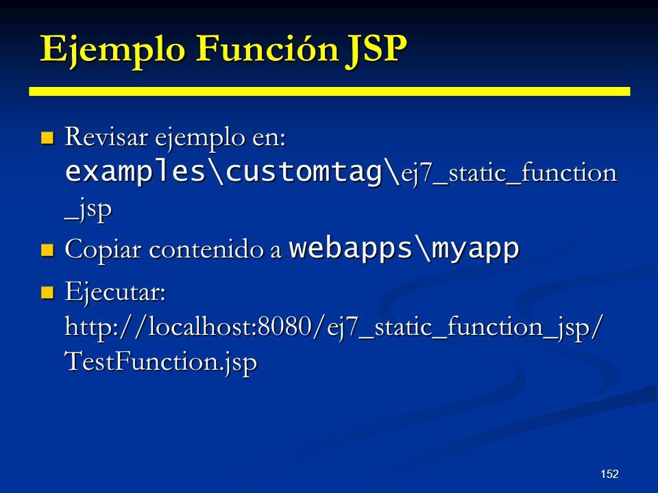 Ejemplo Función JSP Revisar ejemplo en: examples\customtag\ej7_static_function_jsp. Copiar contenido a webapps\myapp.