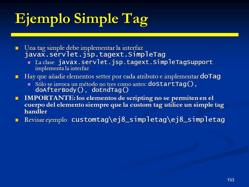 Ejemplo Simple Tag Una tag simple debe implementar la interfaz javax.servlet.jsp.tagext.SimpleTag.
