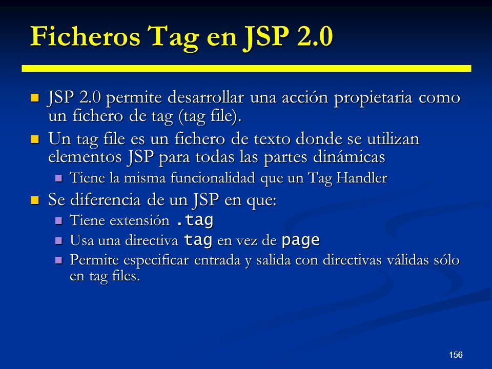 Ficheros Tag en JSP 2.0 JSP 2.0 permite desarrollar una acción propietaria como un fichero de tag (tag file).