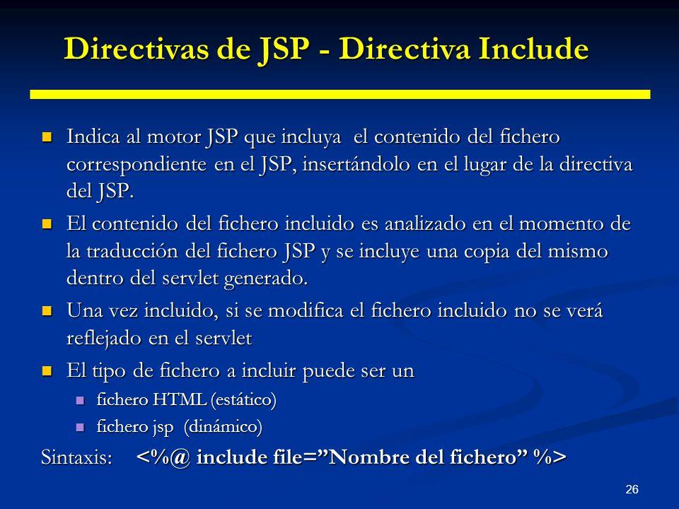 Directivas de JSP - Directiva Include