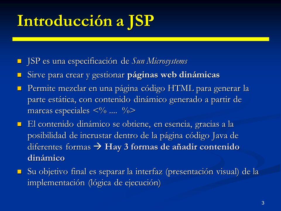 Introducción a JSP JSP es una especificación de Sun Microsystems