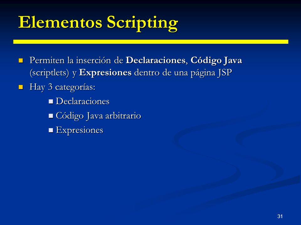 Elementos Scripting Permiten la inserción de Declaraciones, Código Java (scriptlets) y Expresiones dentro de una página JSP.