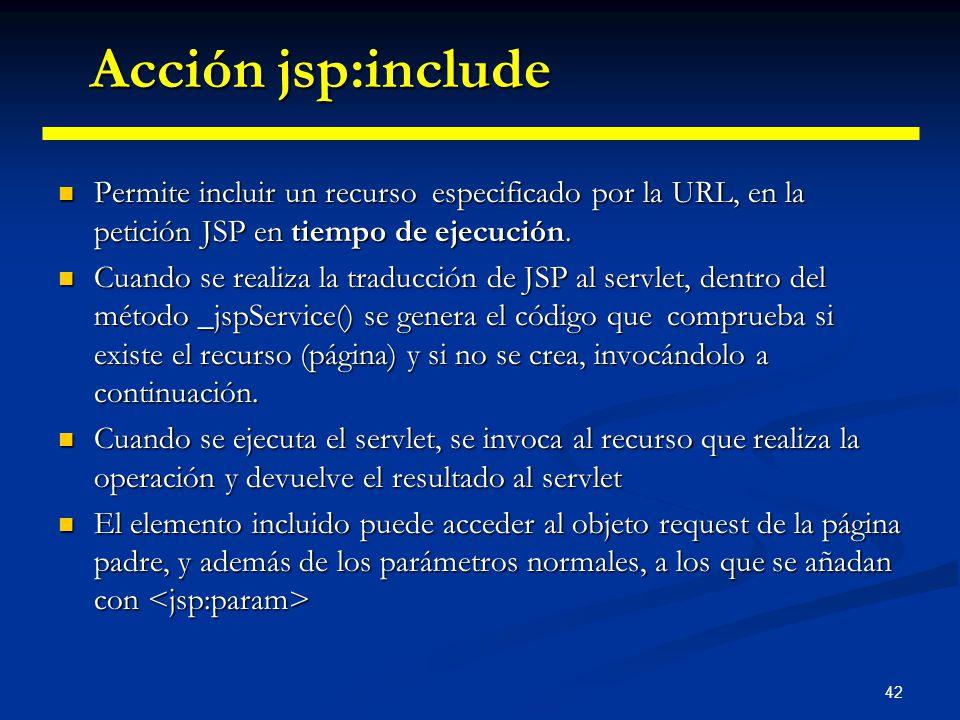Acción jsp:include Permite incluir un recurso especificado por la URL, en la petición JSP en tiempo de ejecución.