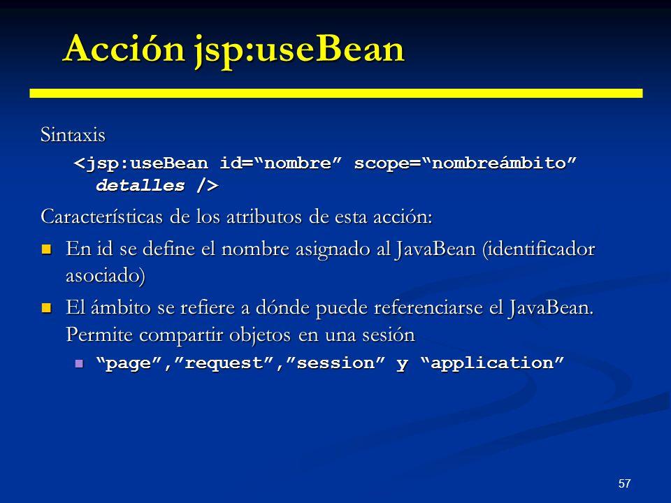 Acción jsp:useBean Sintaxis