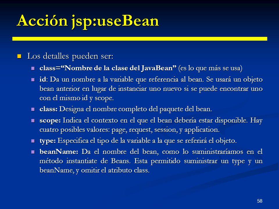 Acción jsp:useBean Los detalles pueden ser: