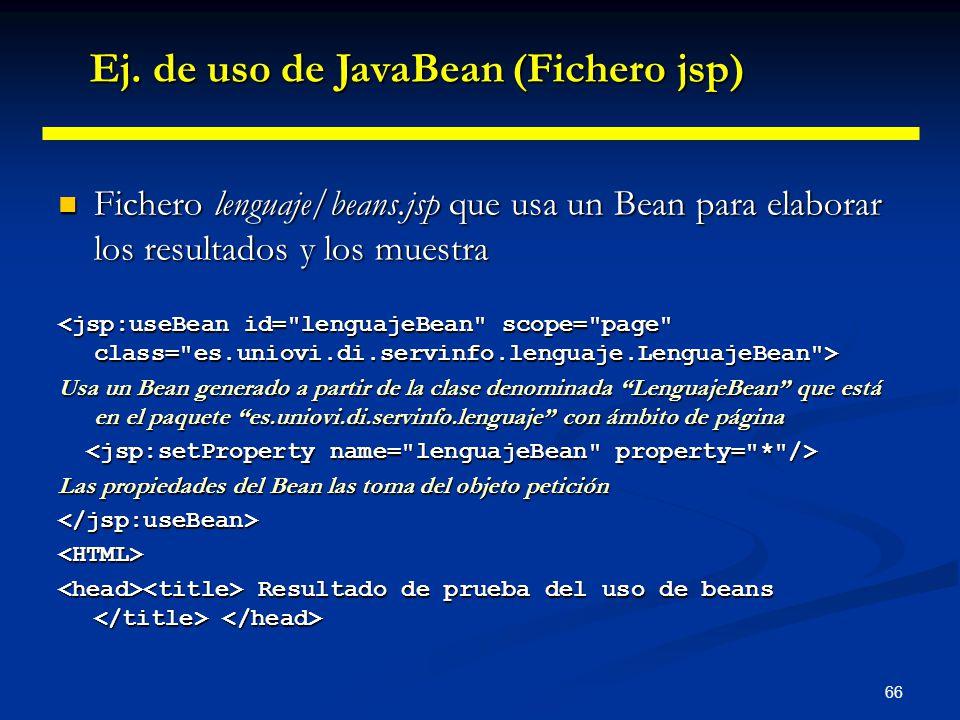 Ej. de uso de JavaBean (Fichero jsp)