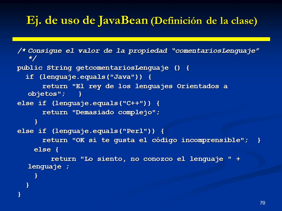 Ej. de uso de JavaBean (Definición de la clase)