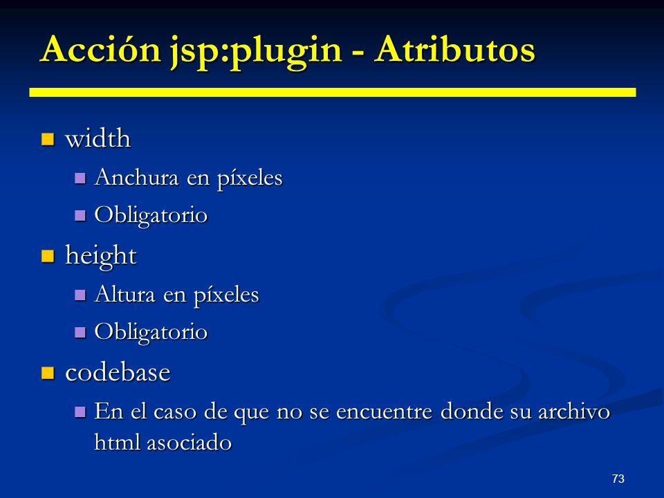 Acción jsp:plugin - Atributos