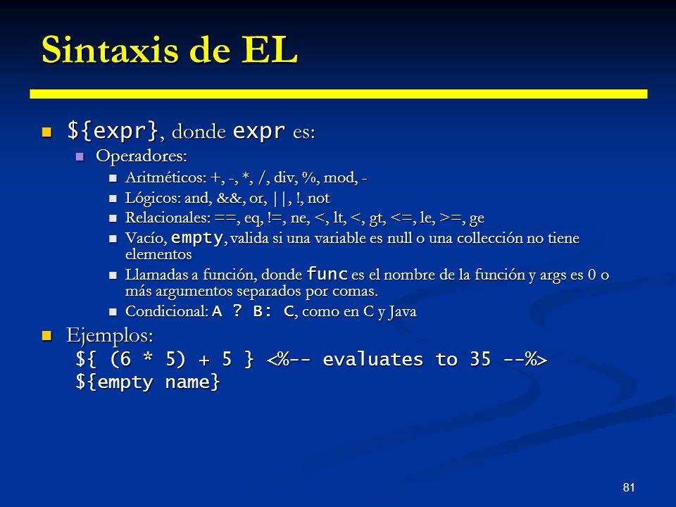 Sintaxis de EL ${expr}, donde expr es: Ejemplos: Operadores: