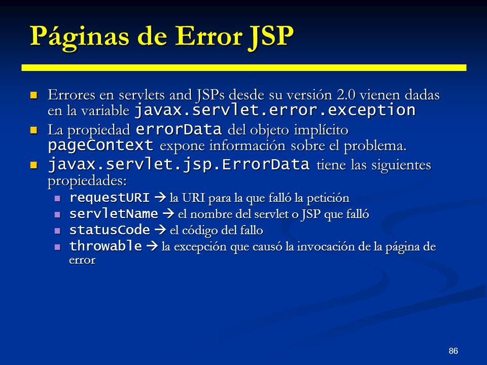 Páginas de Error JSP Errores en servlets and JSPs desde su versión 2.0 vienen dadas en la variable javax.servlet.error.exception.