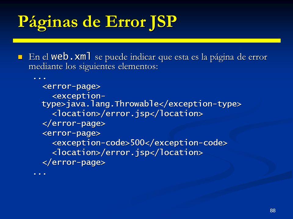 Páginas de Error JSP En el web.xml se puede indicar que esta es la página de error mediante los siguientes elementos:
