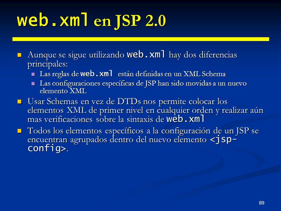 web.xml en JSP 2.0 Aunque se sigue utilizando web.xml hay dos diferencias principales: Las reglas de web.xml están definidas en un XML Schema.