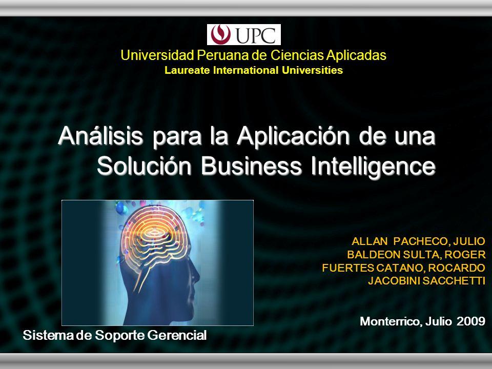 Análisis para la Aplicación de una Solución Business Intelligence