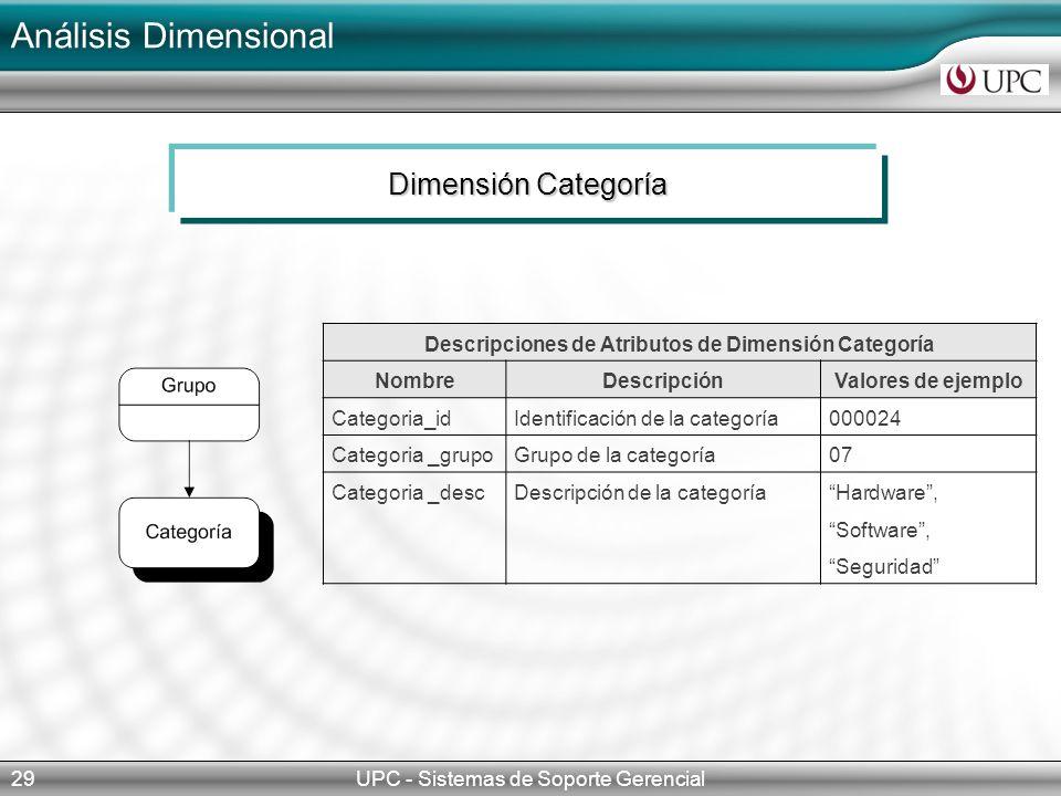 Descripciones de Atributos de Dimensión Categoría