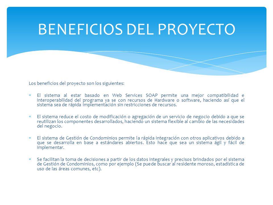 BENEFICIOS DEL PROYECTO