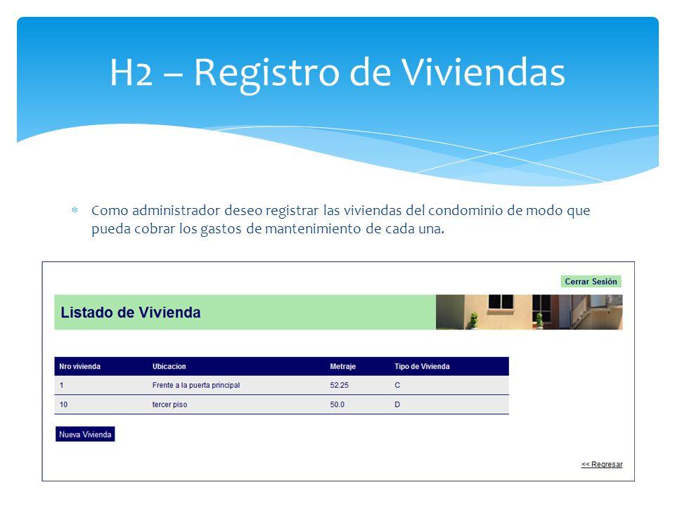 H2 – Registro de Viviendas