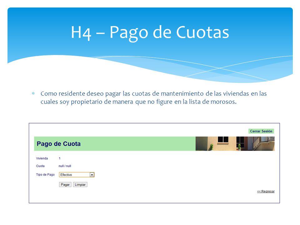 H4 – Pago de Cuotas