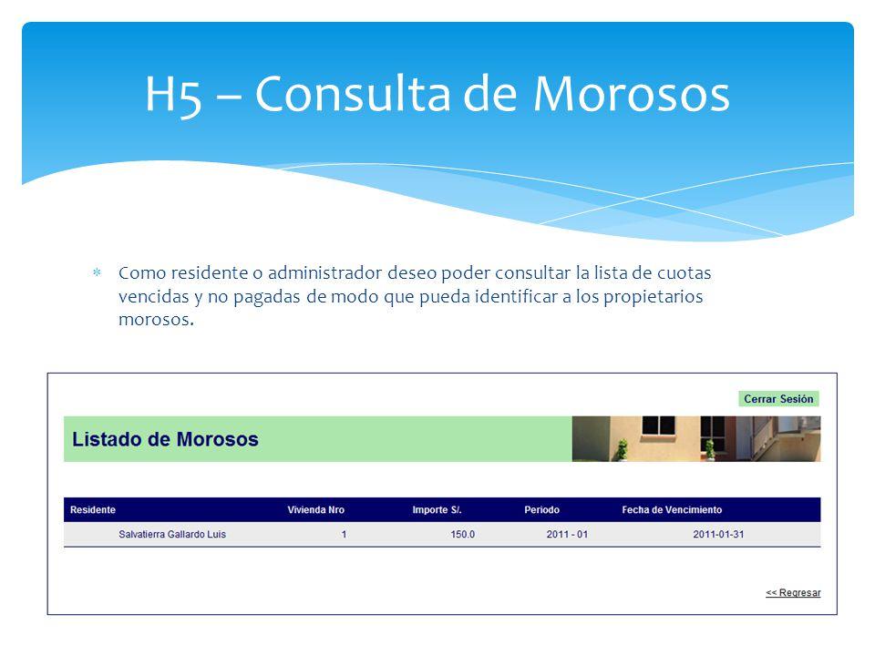H5 – Consulta de Morosos