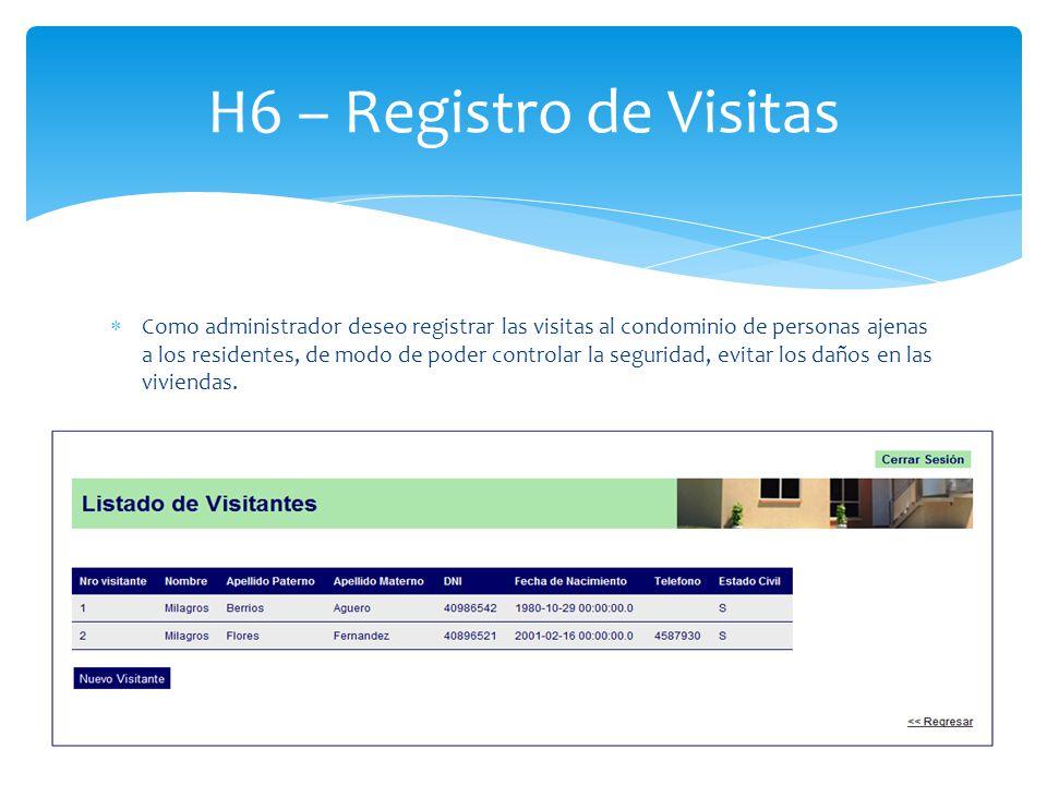 H6 – Registro de Visitas