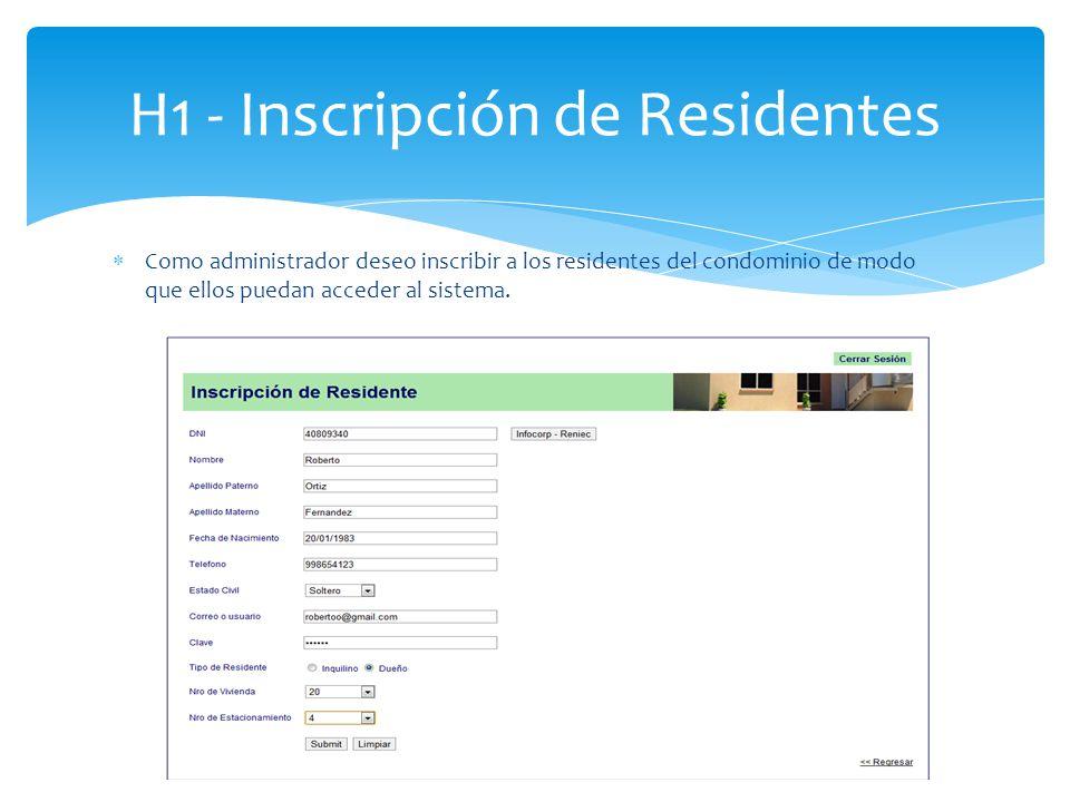H1 - Inscripción de Residentes