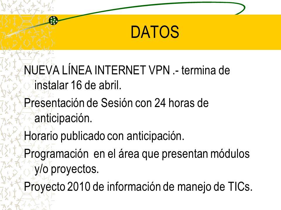 DATOS NUEVA LÍNEA INTERNET VPN .- termina de instalar 16 de abril.