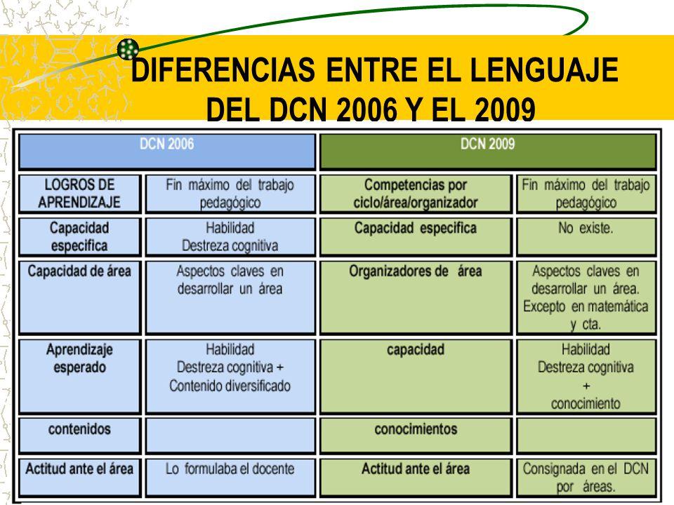 DIFERENCIAS ENTRE EL LENGUAJE DEL DCN 2006 Y EL 2009