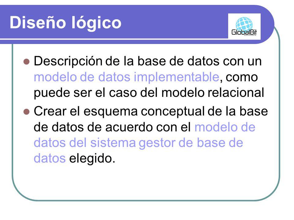 Diseño lógico Descripción de la base de datos con un modelo de datos implementable, como puede ser el caso del modelo relacional.