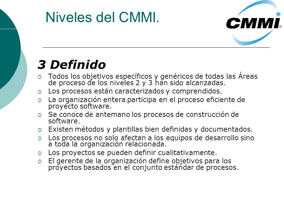 Niveles del CMMI. 3 Definido Diferencias entre el nivel 2 y 3.