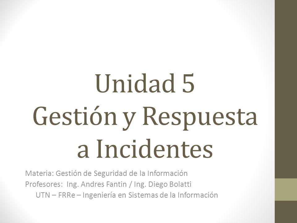 Unidad 5 Gestión y Respuesta a Incidentes