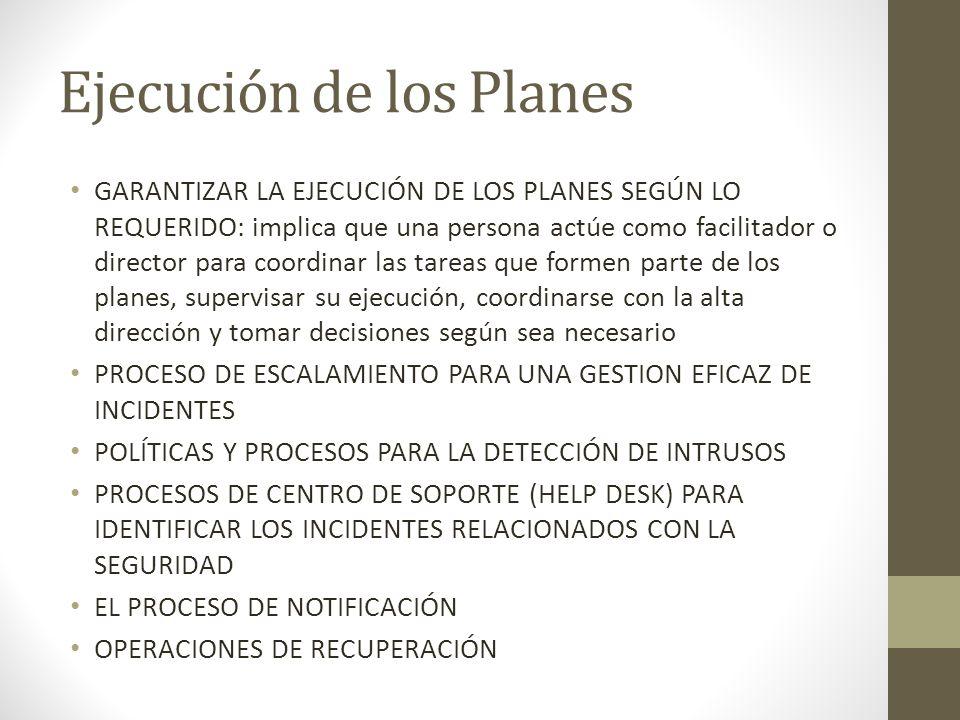 Ejecución de los Planes