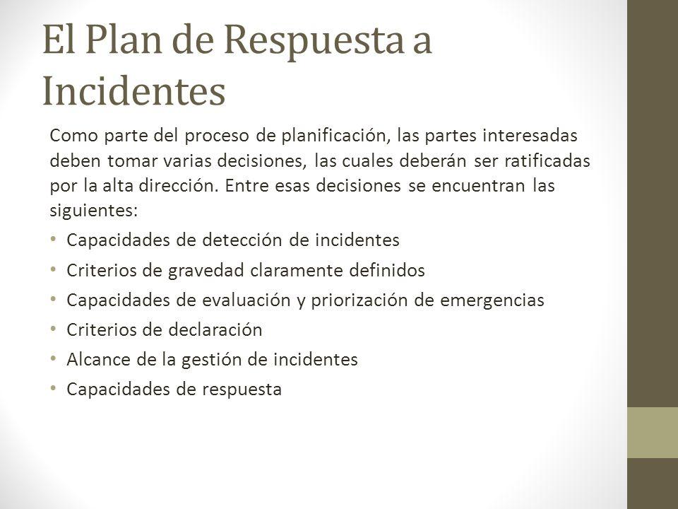 El Plan de Respuesta a Incidentes