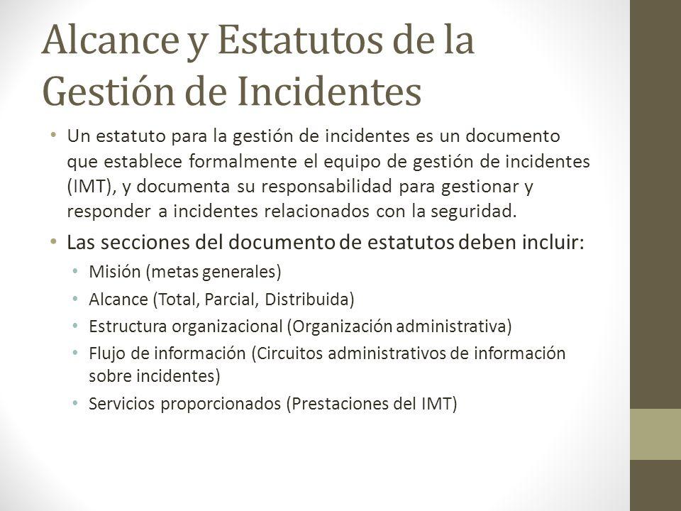Alcance y Estatutos de la Gestión de Incidentes