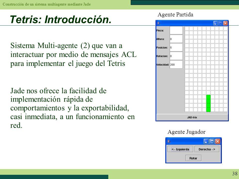 Agente Partida Tetris: Introducción. Sistema Multi-agente (2) que van a interactuar por medio de mensajes ACL para implementar el juego del Tetris.