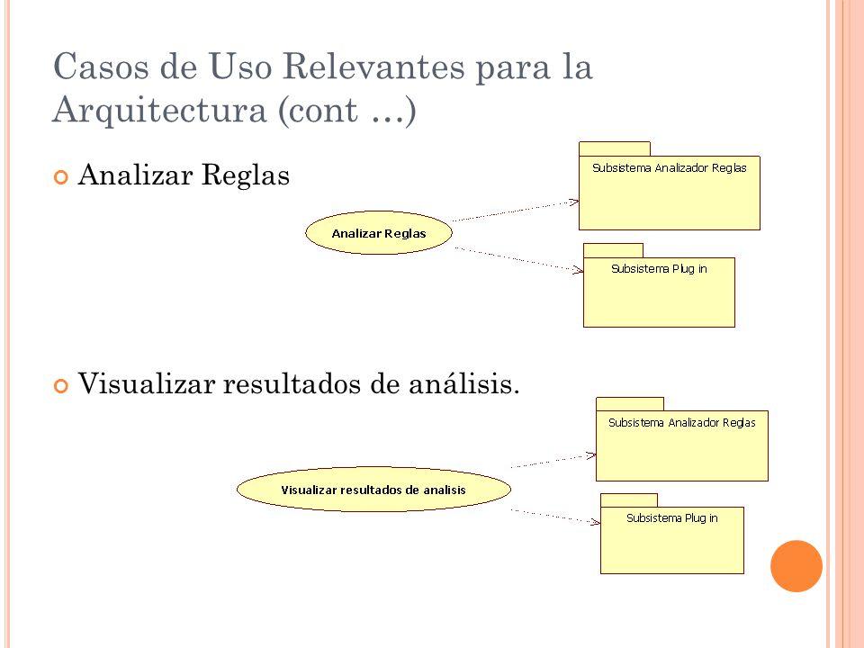 Casos de Uso Relevantes para la Arquitectura (cont …)