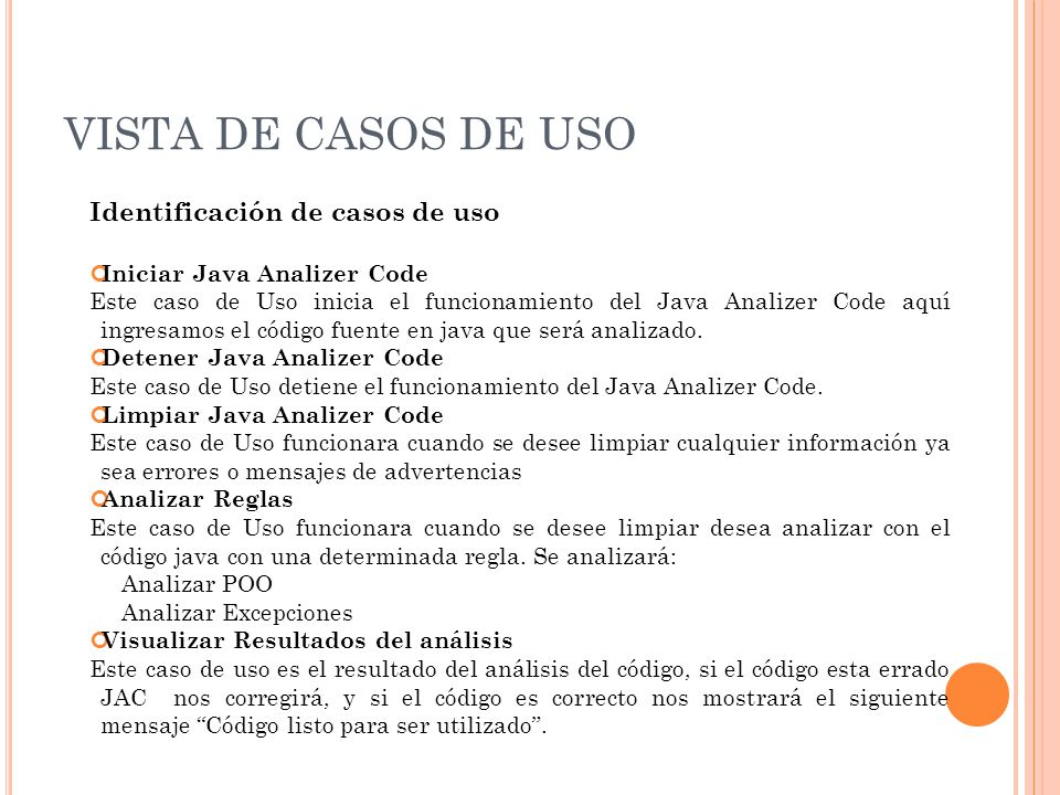 VISTA DE CASOS DE USO Identificación de casos de uso