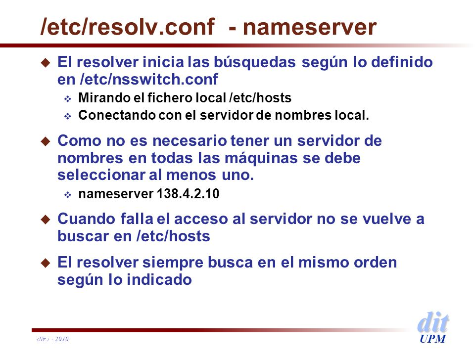 /etc/resolv.conf - nameserver