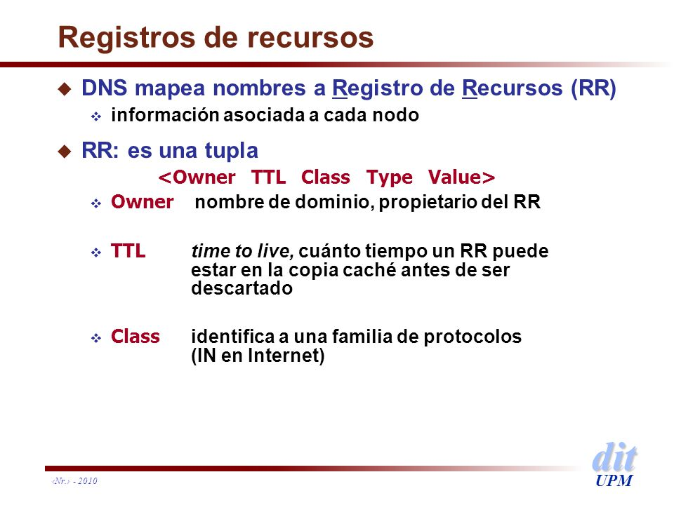 Registros de recursos DNS mapea nombres a Registro de Recursos (RR)