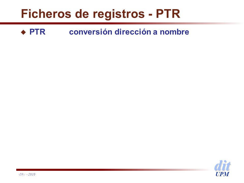 Ficheros de registros - PTR