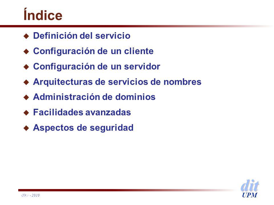 Índice Definición del servicio Configuración de un cliente